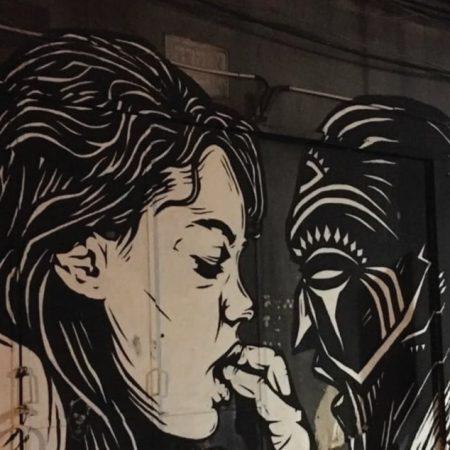 קיר גרפיטי של Pilpeled בעיר התחתית בחיפה