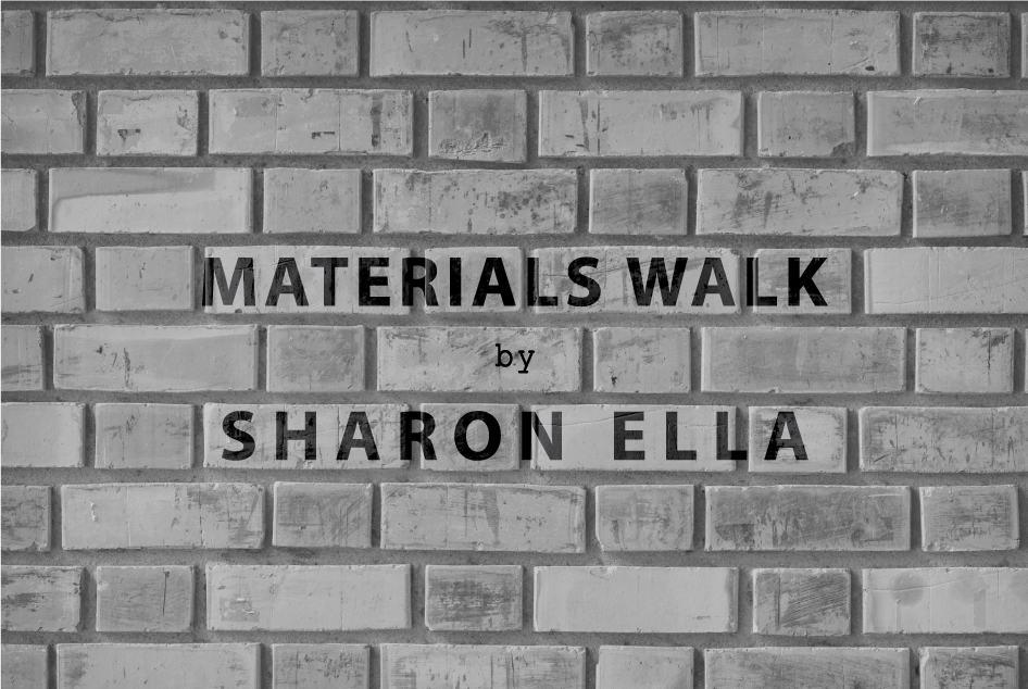 פרסום סיורי חומרים שרון אלה על רקע צילום של קיר לבנים